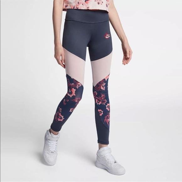 418bf3e371505 Nike Pants   Sportswear Floral Leggings Navy Pink Size M   Poshmark